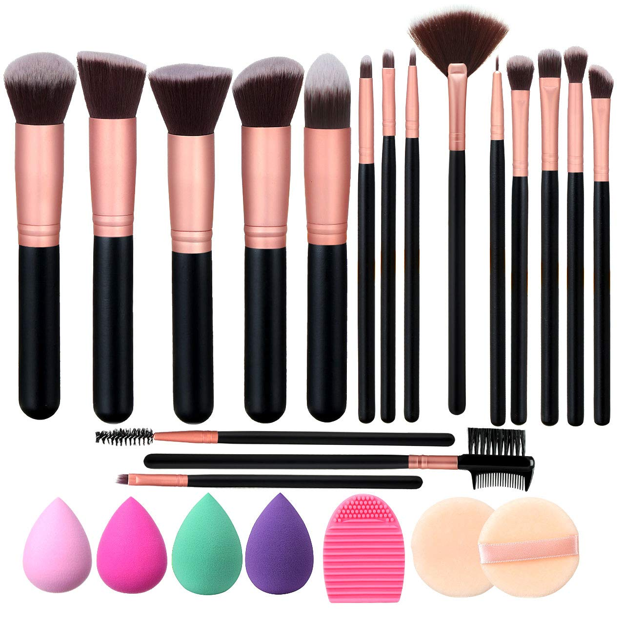 Elisel Makeup Brush Set, 17 Pcs Makeup Brushes with 4 Makeup Sponge Blender 2 Makeup Powder Puff 1 silicone brush cleaner Make Up Brushes Kit (Rose Gold 17)