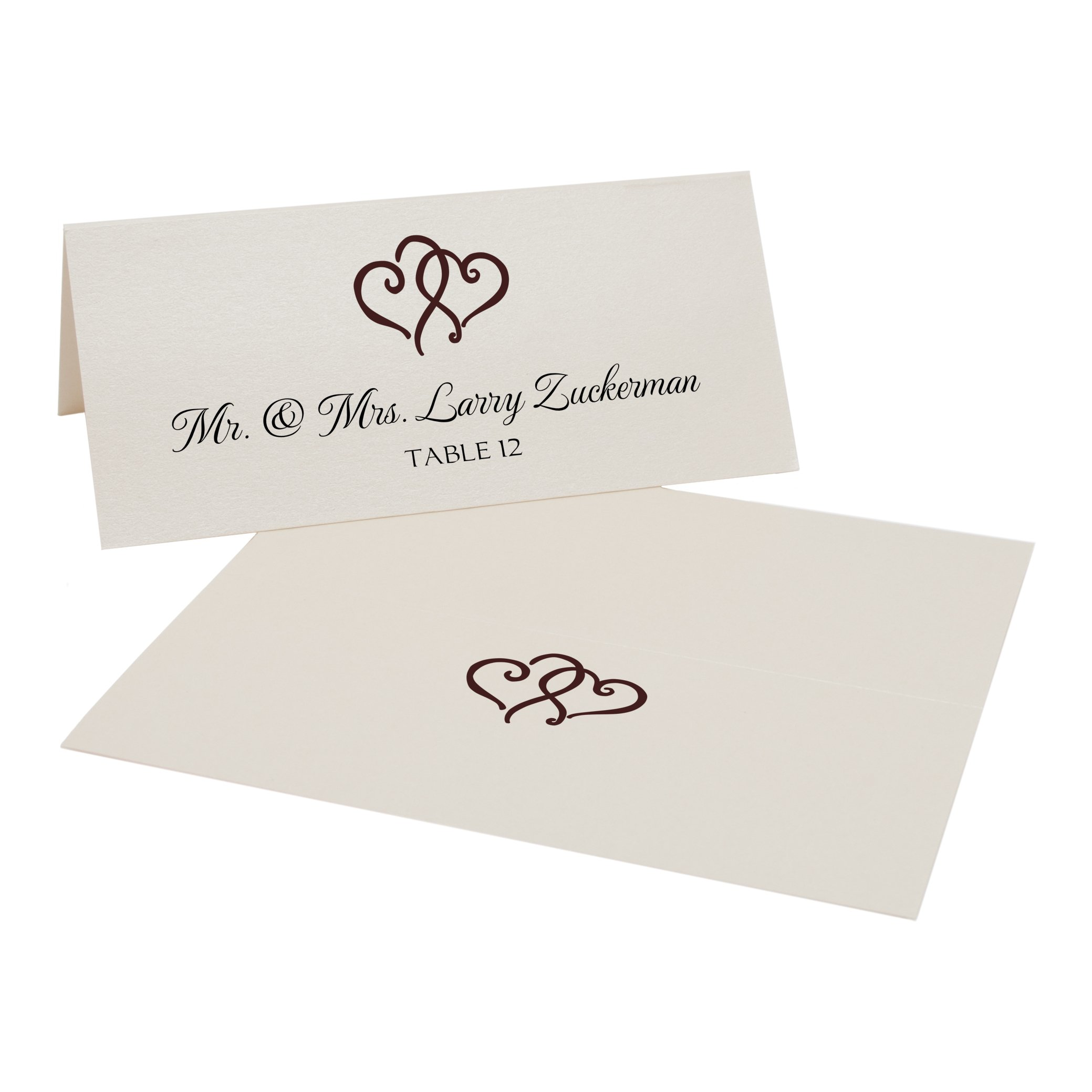 Linked Hearts Place Cards, Champagne, Chocolate, Set of 375
