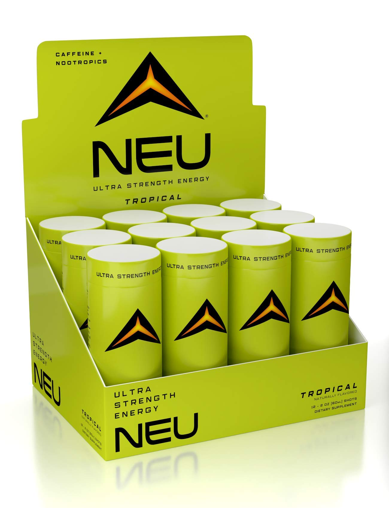 NEU Extra Strength Nootropic Energy Shots, Energy Drink: Brain Booster Focus Supplement, Coffee Alternative Nutritional Drink + Keto Energy Pre Workout with Zero Sugar - Tropical Punch 2oz (12 shots) by NEU