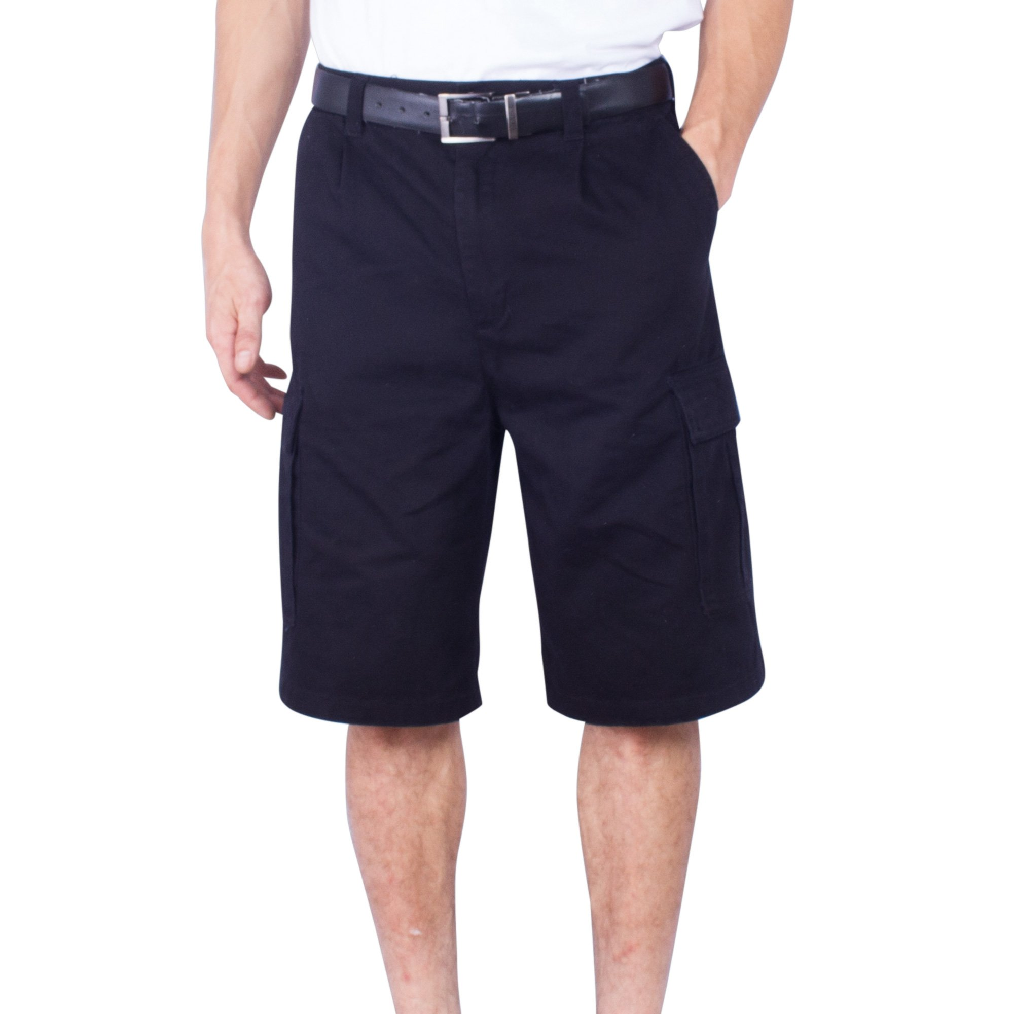 Mens Cargo Short Big & Tall Solid Long Loose Fit Solid Cotton Chino Shorts (Black,46)