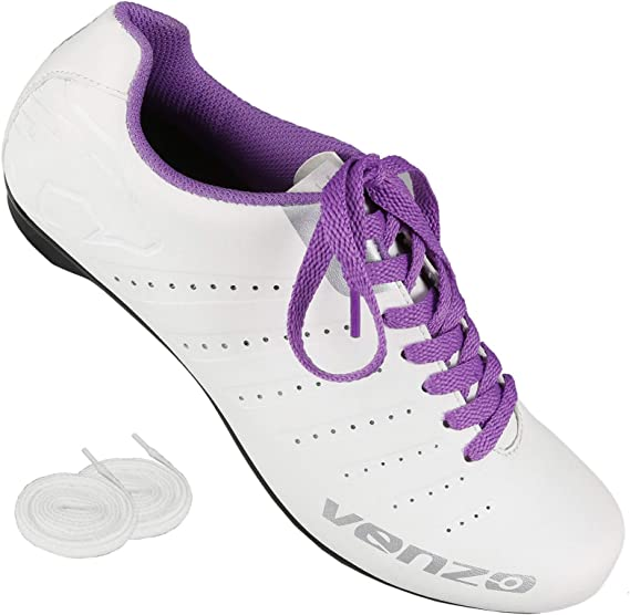 Venzo Bicycle Women's Ladies Road Cycling Riding Shoes - Lace - Compatible with Peloton Shimano SPD & Look ARC Delta - Perfect for Indoor Spin Road Racing Bikes White