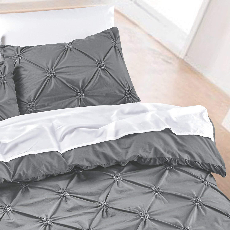 California Design Den Diamond Pintuck Duvet Cover Set 3-Piece Silver Full//Queen