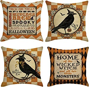 EMUST Halloween Pillow Covers 18x18, Halloween Decorations Indoor Throw Pillow Cases Cotton Linen Set of 4 for Sofa Couch Cushion Home Decoration