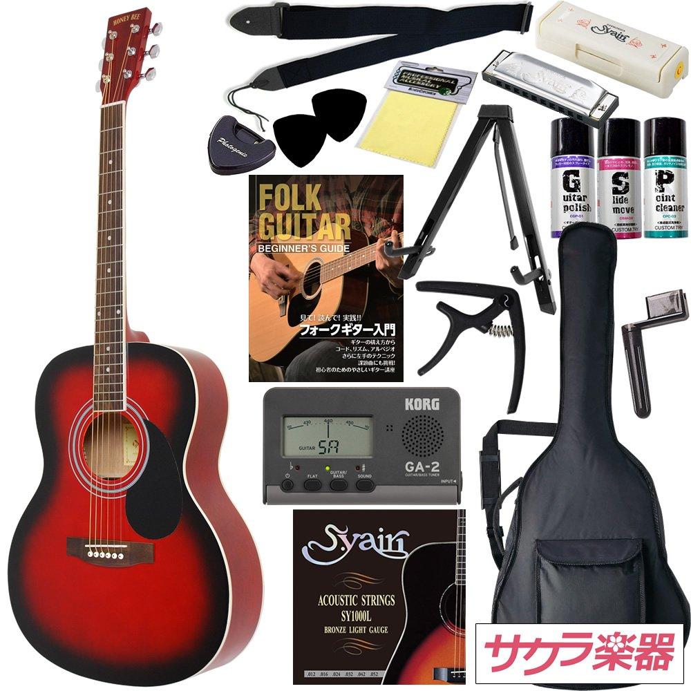 HONEY BEE アコースティックギター F-15 初心者入門16点セット /レッドSB(9707021248) B002E955OG
