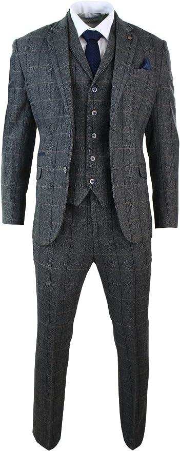 Men's 3 Piece Classic Tweed Herringbone Check Grey Navy Slim Fit Vintage Suit