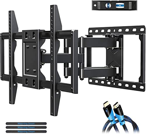 Mount Bracket for 42-70 Inch Flat Screen TVs,Heavy Duty Design – Max VESA 600x400mm, 100 LBS Loading, MD2296 Full Motion TV Wall Mounts with Swivel Articulating Dual Arms.
