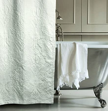 Hotel Collection Matelasse Luxury Shower Curtain By 100 Percent Cotton Fabric Textured Trapunto Gray Damask