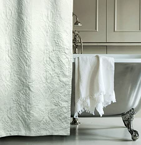 matelasse luxury shower curtain by hotel collection 100percent cotton fabric textured trapunto gray damask