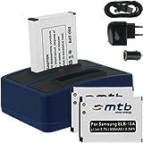 3x Batterie + Double Chargeur (USB/Auto/Secteur) pour Samsung SLB-10A / Toshiba Camileo X-Sports / JVC Adixxion / Silvercrest / Medion Action Cam.. v. liste