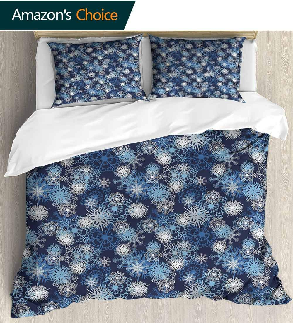 carmaxs-home Winter Bedspread Set Queen Size, Various Different Ornate Snowflakes Blizzard Cold Season Xmas Themed Print, Decorative Quilted 3 Piece Coverlet Set with 2 Pillow Shams,(87'' W x 102'' L)