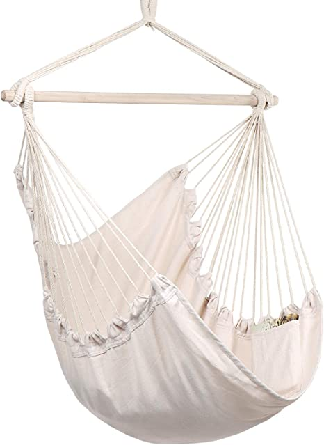 Amazon.com: Y- STOP Hammock Chair Hanging Rope Swing - Max 330 Lbs - Quality Cotton Weave for Superior Comfort & Durability (Beige): Furniture & Decor