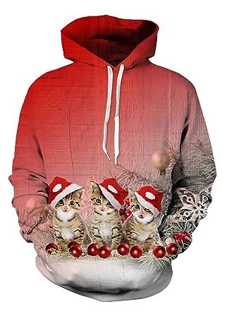 uideazone men 3d ptinted xmas cats crewneck hoodie cute ugly christmas sweatshirts red - Christmas Hoodie