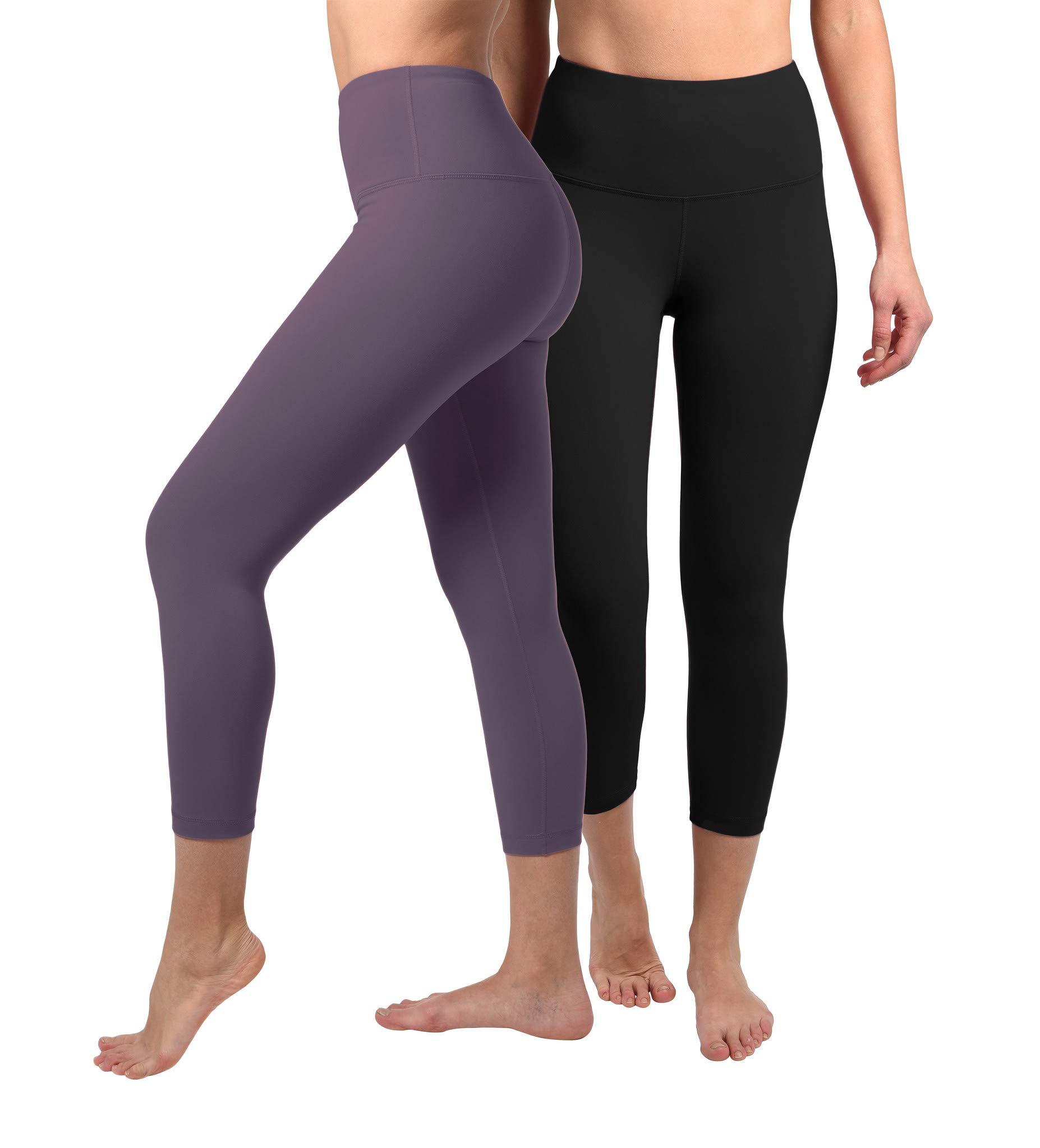 90 Degree By Reflex - High Waist Tummy Control Shapewear - Power Flex Capri - Black and Royal Plum 2 Pack - Medium