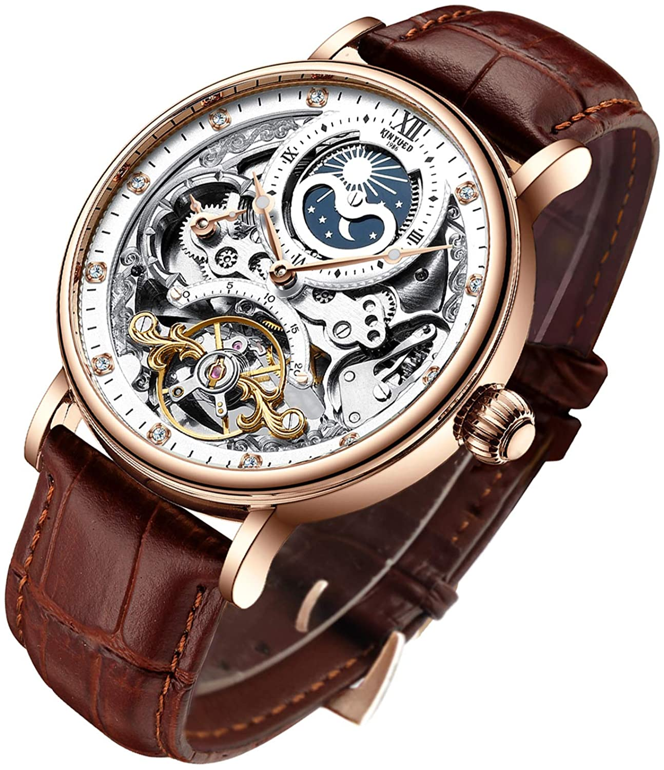 Amazon.com: Bestn Mens Luxury Skeleton Automatic Mechanical Wrist Watches  Leather Moon Phrase Luminous Hands Self-Wind Watch: Watches