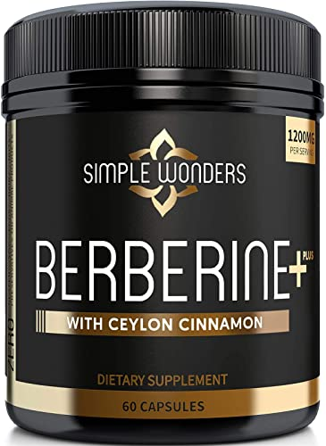 Berberine 1200mg HCL Plus Ceylon Cinnamon Capsules – Blood Sugar Immune Support Supplements, AMPK Metabolic Activator Complex, Glucose Metabolism, Cardiovascular Insulin Support – Made in USA