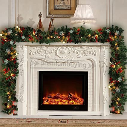 Pre Lit Fireplace Christmas Wreath Garland Holly Pine Gold 9ft With