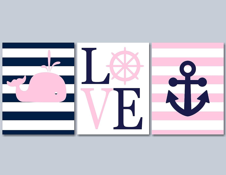 Pink Nautical Wall Art, Nautical Nursery Wall Art, Whale Nursery Wall Art, Navy Pink Whale Nursery Wall Art, Girl Nautical Art-UNFRAMED Set of 3 PRINTS (NOT CANVAS) C207