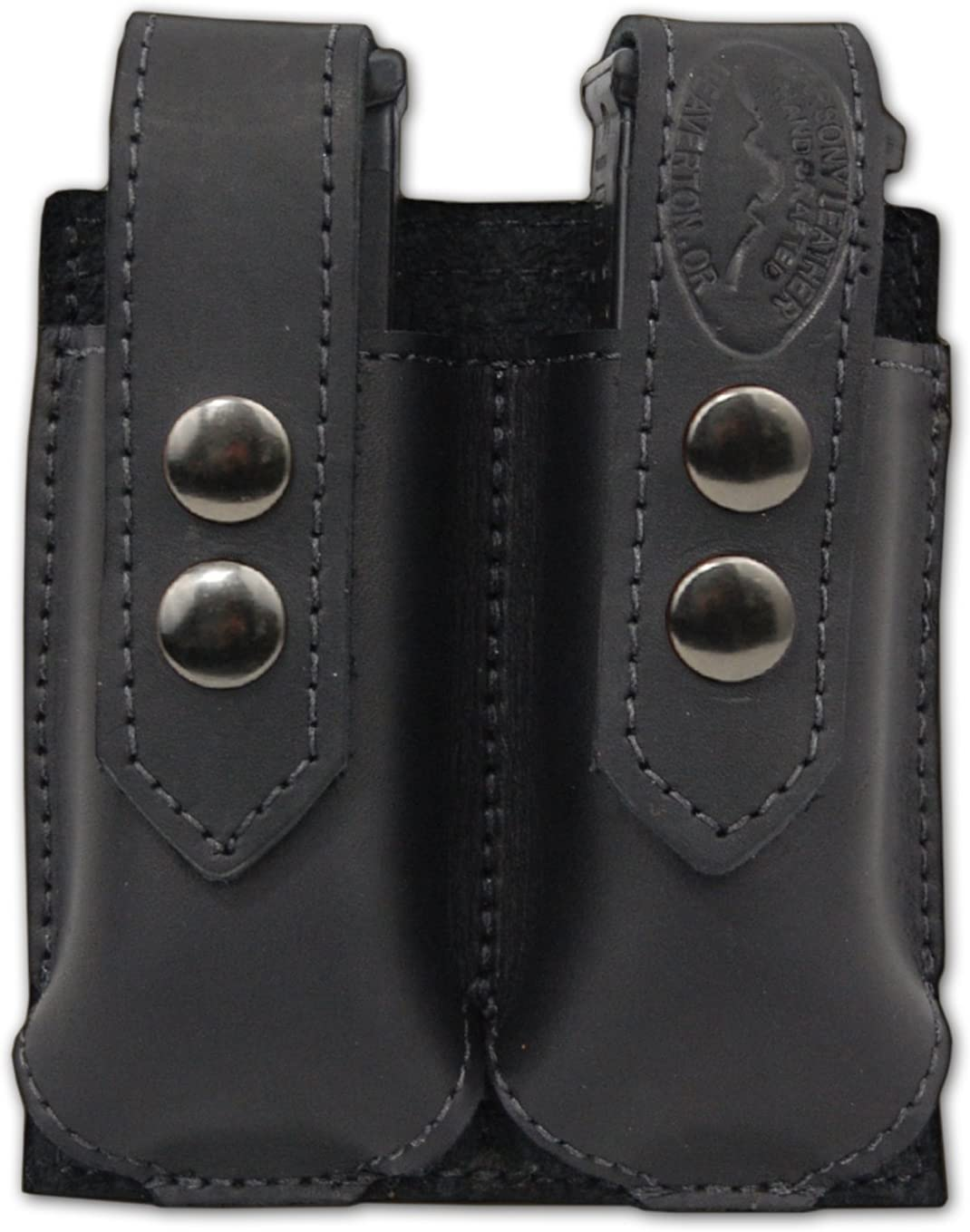 Barsony New Black Leather Double Magazine Pouch for Compact 9mm 40 45 Pistols 71eqn8NZE3L