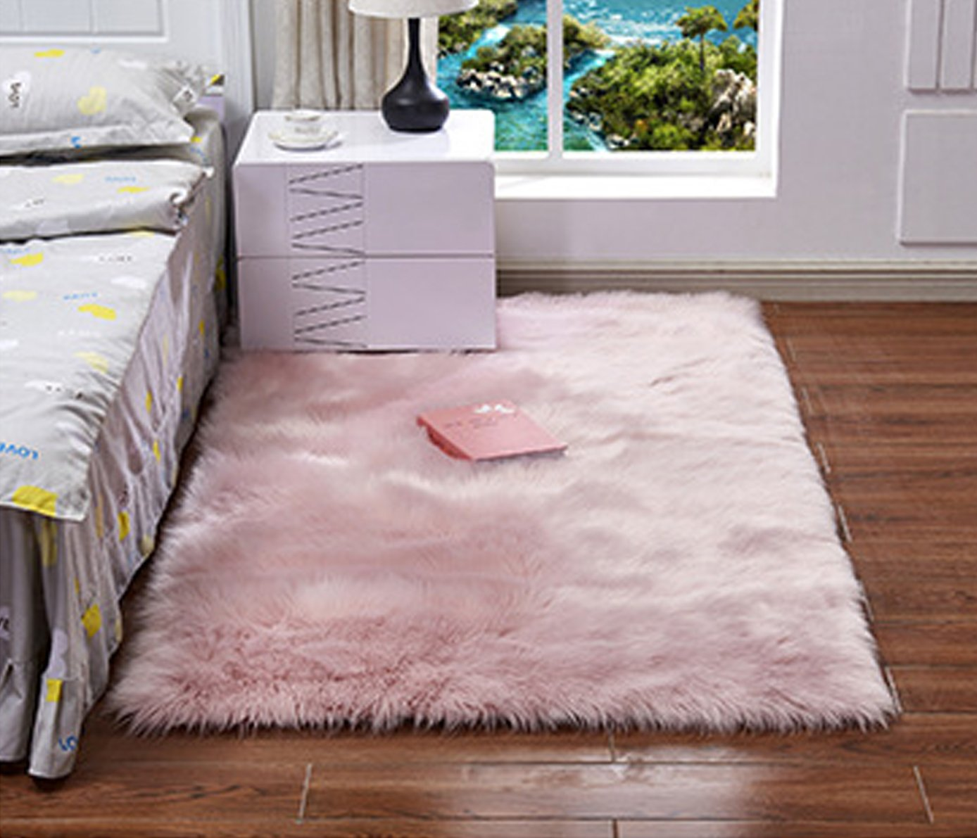 Faux Fur Sheepskin Area Rug,Solid Shaggy Area Rugs for Living Bedroom Floor – Light Pink 4ftx6ft