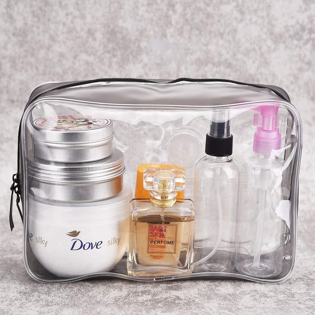 4 Piezas Bolsas Portátil de Maquillaje de PVC, Neceser Transparente Impermeable con Cremallera, Mujer Bolsa de Cosmético Organizador para cosméticos ...