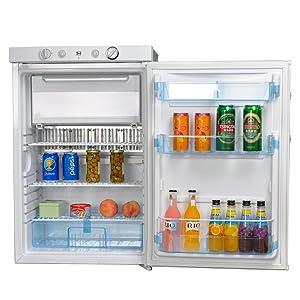 SMETA Propane Refrigerator with Freezer 12V/110V/Gas LPG,No Noise,Fridge for Dorm Office Garage,Single Door,3.5 cu ft,White