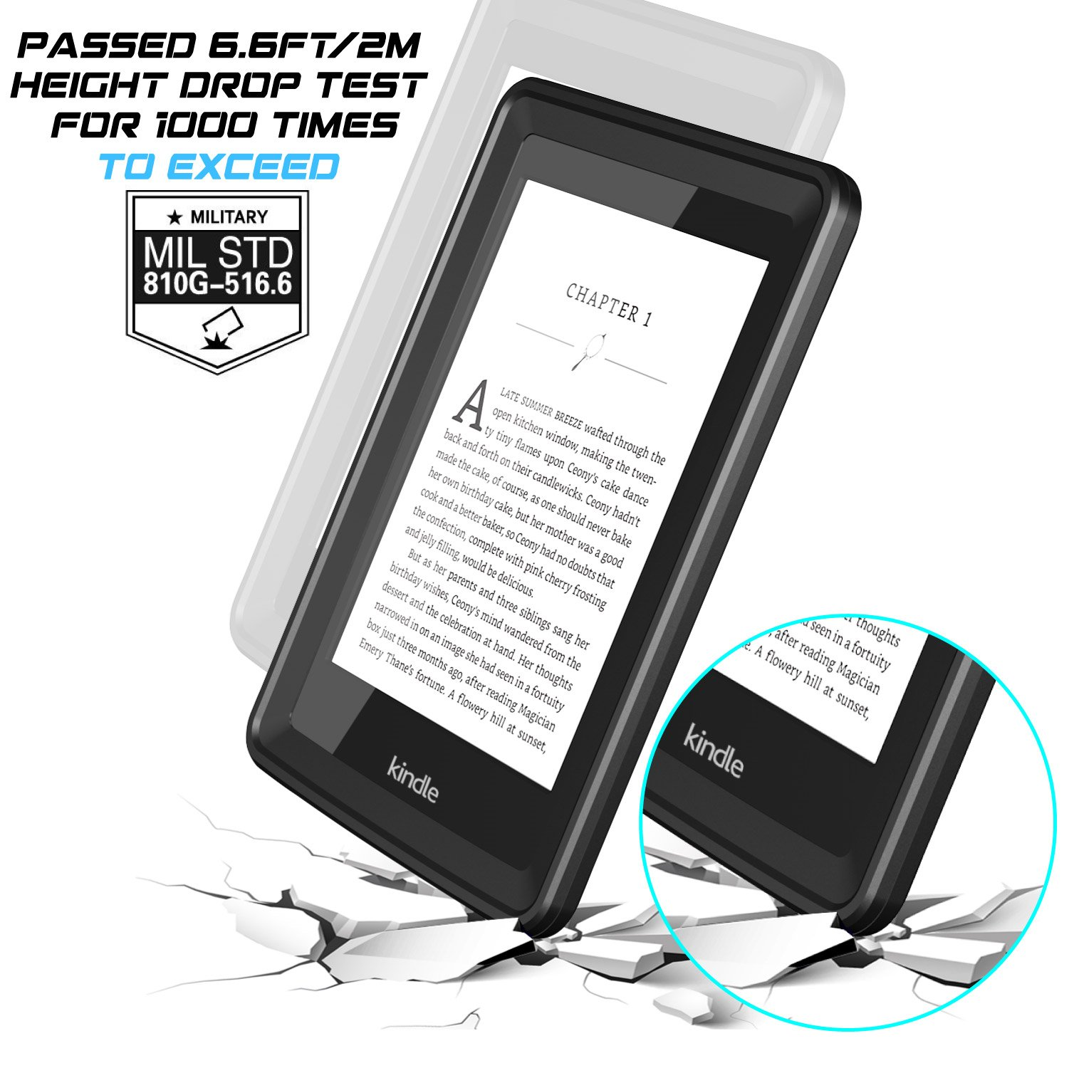 Temdan Kindle Paperwhite Waterproof Case Rugged Sleek Transparent Cover with Built in Screen Protector Waterproof Case for Kindle Paperwhite. by Temdan (Image #3)
