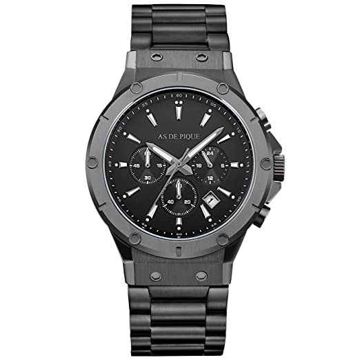 AS DE PIQUE - Reloj de cuarzo, cronógrafo, fecha, cronómetro, sumergible 100 metros, negro: Amazon.es: Relojes