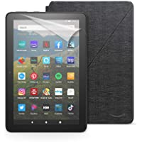 Fire HD 8 tablet, 32 GB, Black + Amazon Fire HD 8 Cover, Charcoal Black + NuPro Screen Protector, 2-pack
