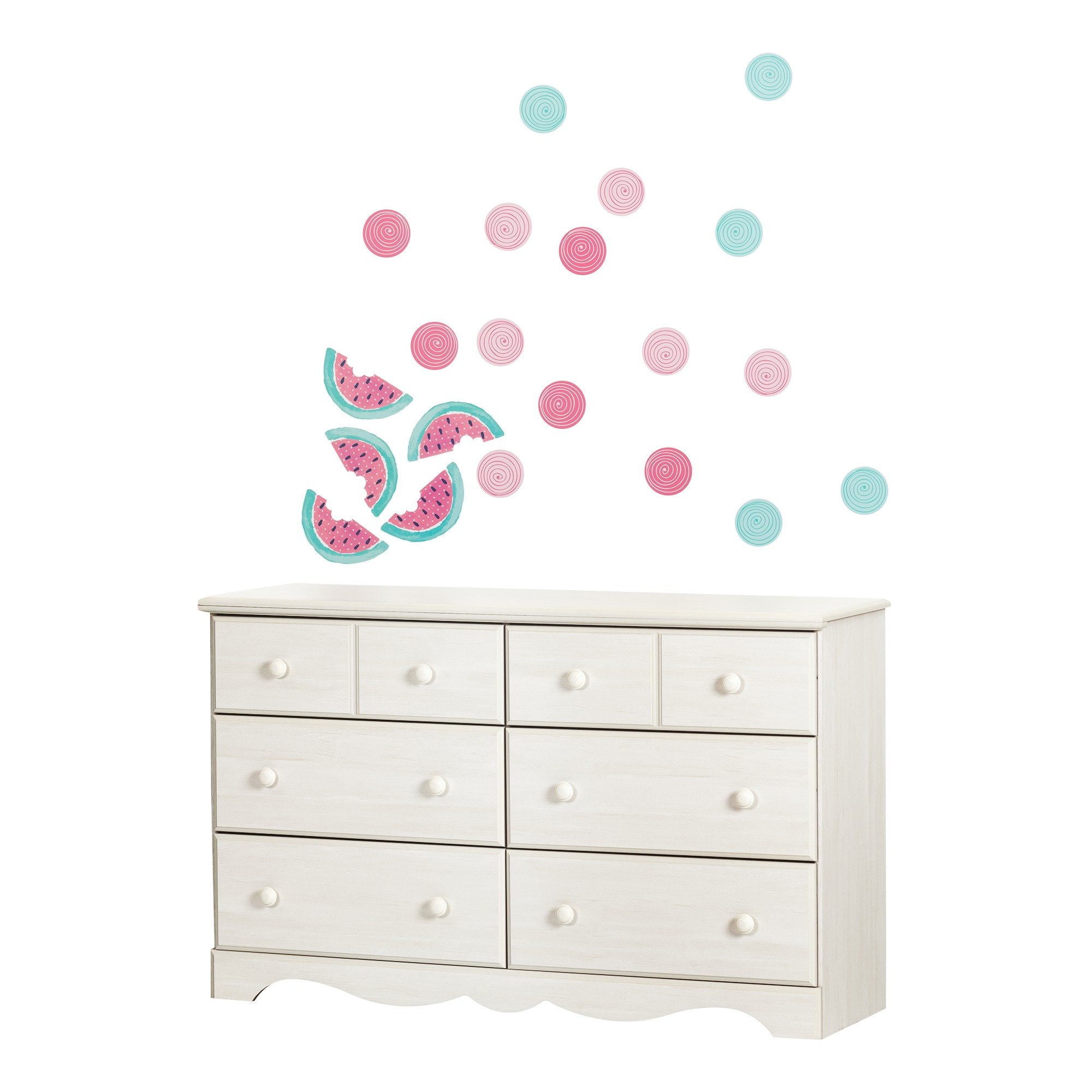 South Shore Summer Breeze Pure White and Pink 6-Drawer Double Dresser with Watermelons and Dots Wall Decals