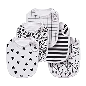 Baby Drooling Bibs for Boys, Girls, Baby Unisex Cotton Bibs 5 Pack Soft and Absorbent(Striped Black)