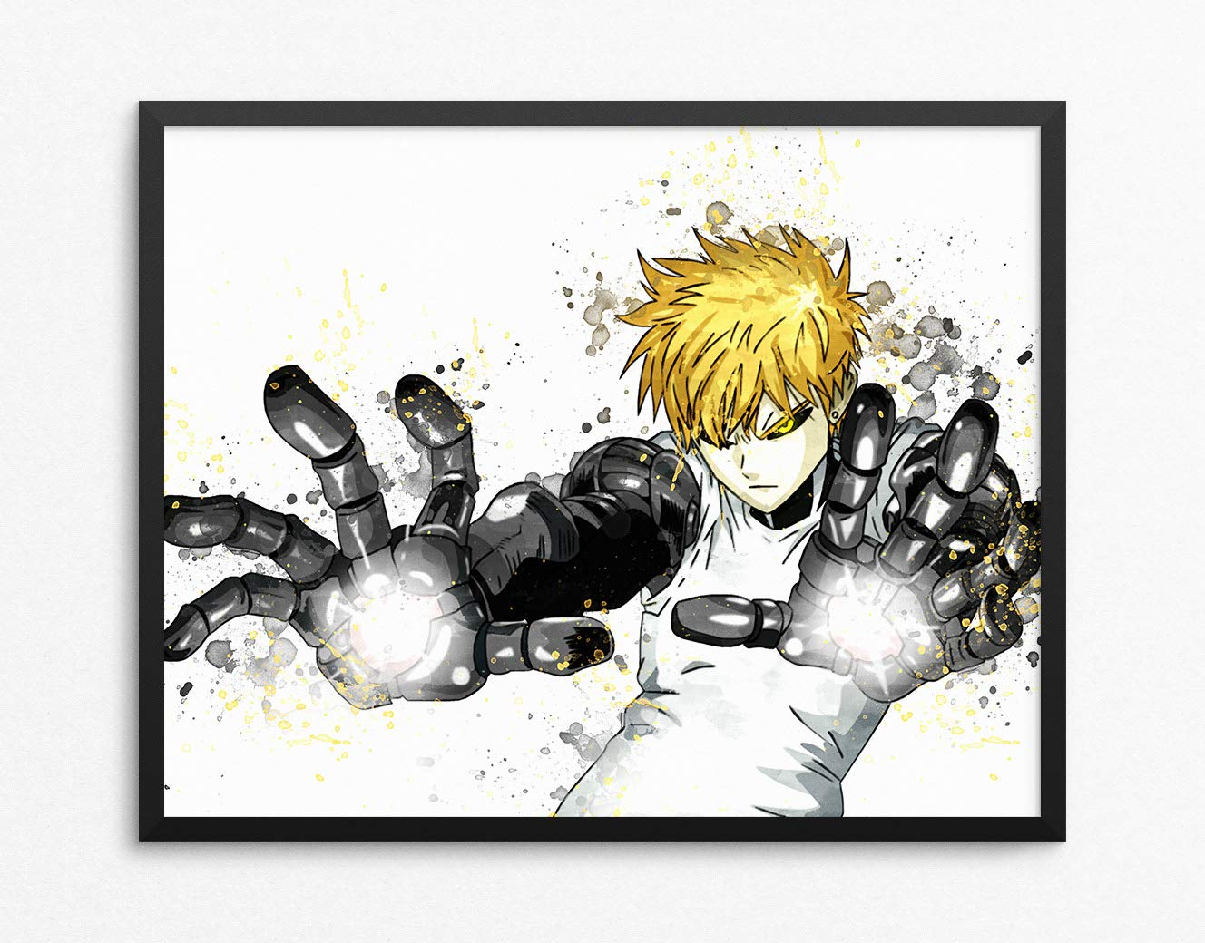 Amazon com one punch man print genos print one punch man poster genos poster anime print anime poster watercolor n 010 8 x 10 inch posters