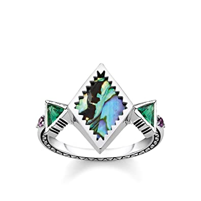 e0270110fdb7 Thomas Sabo Women Ring Zig zag Abalone Mother-of-Pearl 925 Sterling Silver