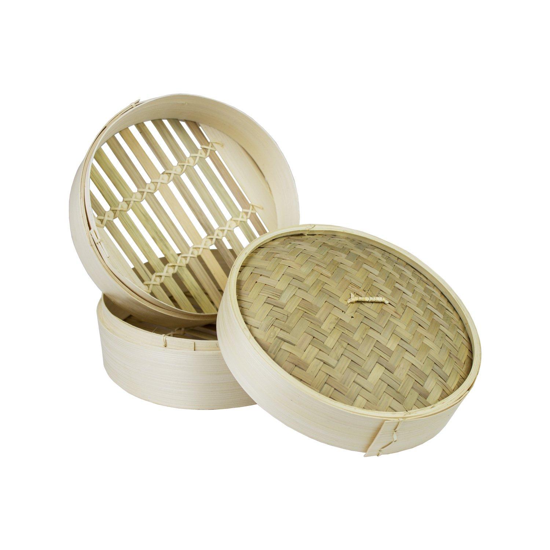 20cm Bamboo Steamer Set 3-Teilig Bambusdämpfer [2 Körbe + 1 Deckel] Jade Temple
