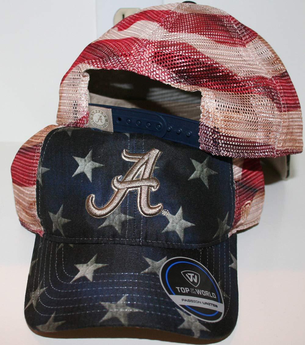 University of Alabama Crimson Tide Red White Blue Star and Stripes 4th of July Mesh Trucker Adult Mens Adjustable Baseball Hat//Cap