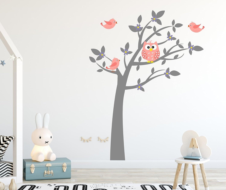 MK73S XL madras24 Sticker Mural pour Enfants Mur pour Un Enfant Jardin denfants des La Chambre des Enfants Salon Chambre /à Coucher /école D/écoration Jungle for/êt Animaux Arbre hiboux Hibou