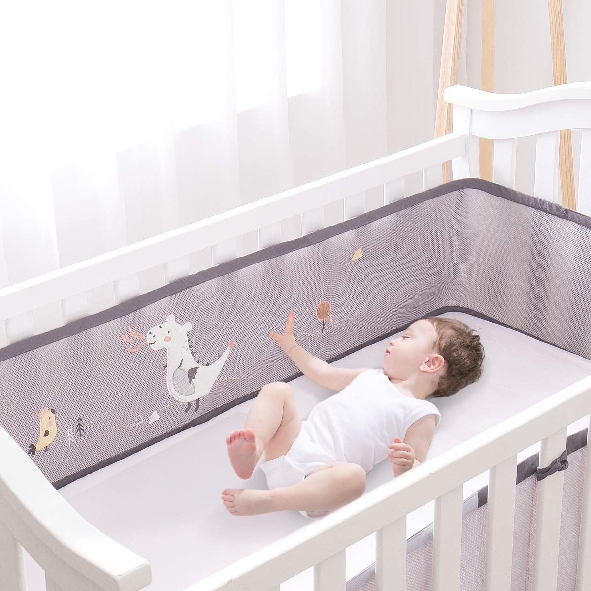 KIDDA Breathable Baby Crib Mesh Bumper Fits 4 Sided Slatted & Solid end Cribs Gray with Applique Animals Dinosaur