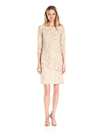 c3f63fbd3d Ronni Nicole Women s 3 4 Sleeve Tiered Sequin Lace Dress at Amazon ...