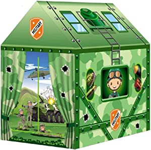 Liberty Imports Kids Themed Play Tent with 50 Balls Included - Indoor Outdoor Children Playhouse Toy for Toddlers, Boys and Girls (Military)