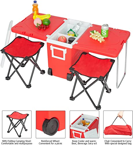 WEI WEI GLOBAL Multi-Function Rolling Cooler w Foldable Table 2 Camping Stools for Picnic Camping Fishing Trip Outdoor, Children Size, Red