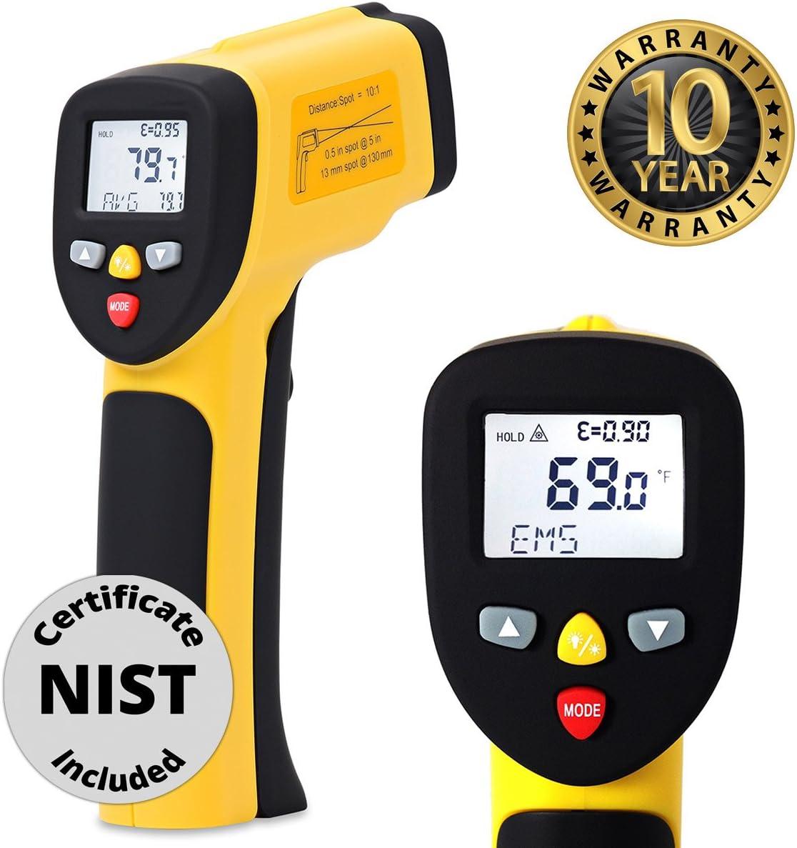 Term/ómetro de infrarrojos pistola de temperatura sin contacto digital Lectura Instant/ánea herramienta de mano con laser vista precisa pantalla LCD 9/V recargable amarillo//negro