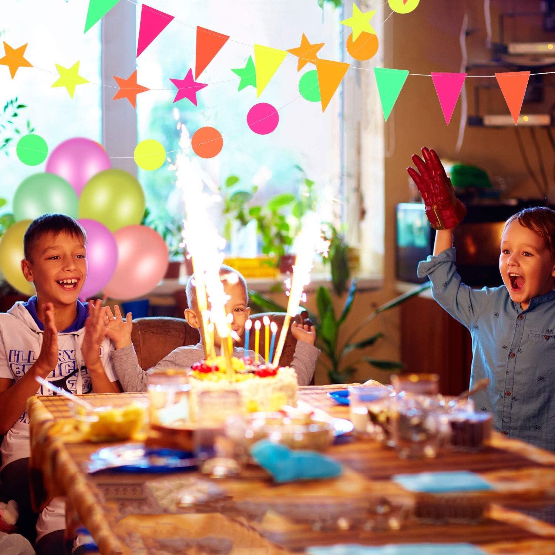 Gejoy 29 St/ück Neon Geburtstag Zubeh/ör Fluoreszierende Schwarzlicht Ballons f/ür Glow Party Reaktives UV Neon Papier Kreis Punkte Stern Girlanden Neon Happy Birthday Banner Dreiecksflaggen Ammer