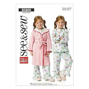 Butterick Patterns B5869 - Patrones e instrucciones para hacer batas, cinturones, camisetas y pantalones de niña (todas las tallas), color blanco: ...