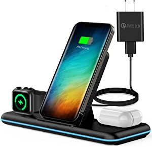 Olunnvi Wireless Charger, 3 in 1 Qi-Certified Wireless Charging Station for AirPods 2/Pro, Apple Watch Series Se 6 5 4 3 2 1, Compatible for iPhone 12/11 Series/XS MAX/XR/XS/X/8/8 Plus/Samsung (Black)