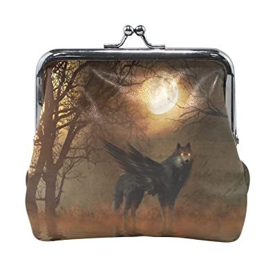 Amazon.com: Monedero de lobo antiguo árbol luna cartera ...