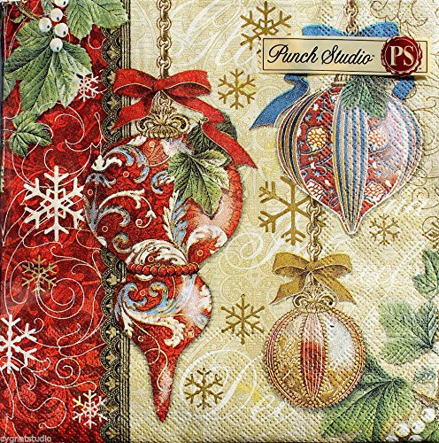 40 Ct Punch Studio Golden Spire Ornaments Luncheon / Dinner Napkins, Victorian Holiday