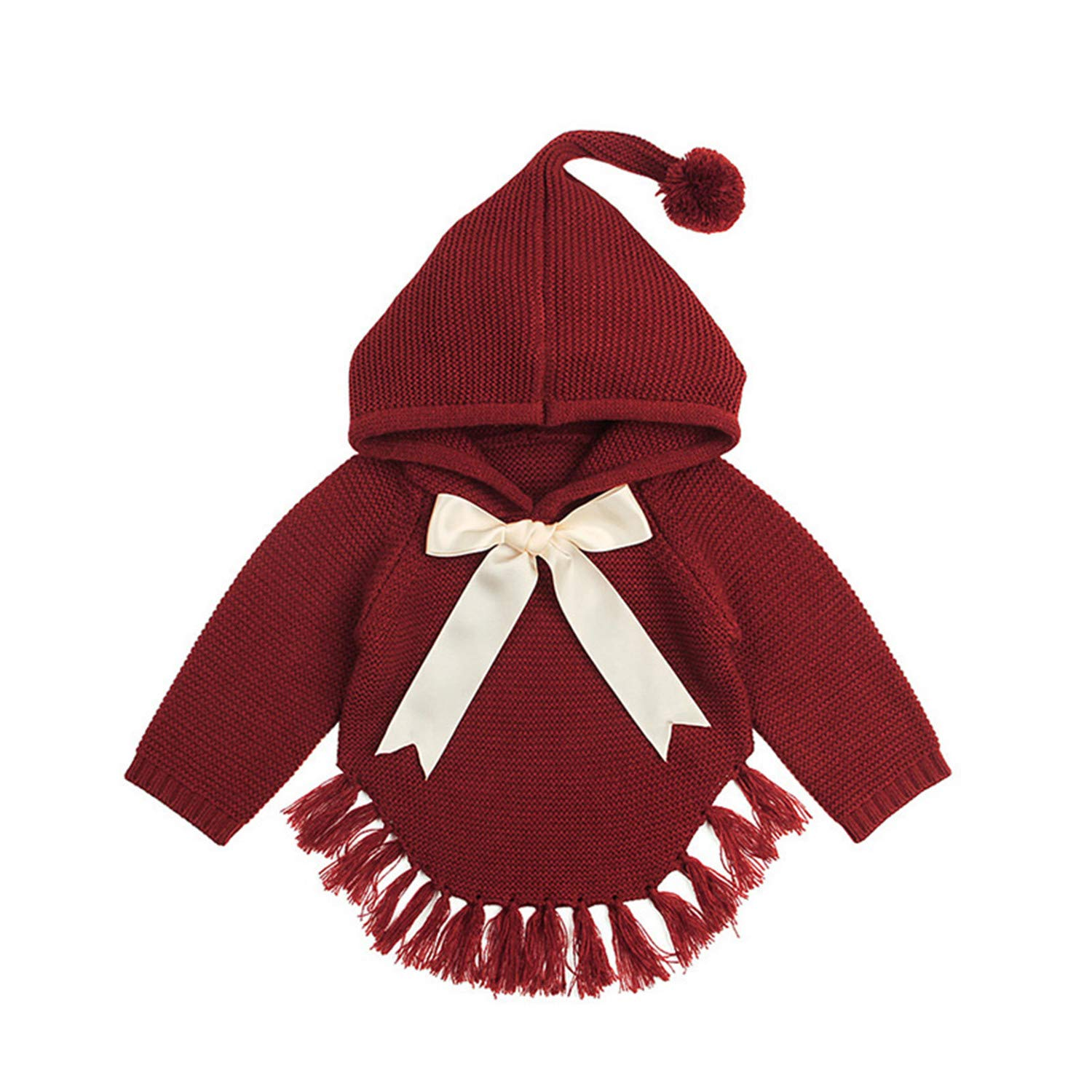 Spring/&Autumn Baby Girl Solid Bow Decoration Sweater Kids Princess Style Hooded Cape Coat 6M-24M,JC160