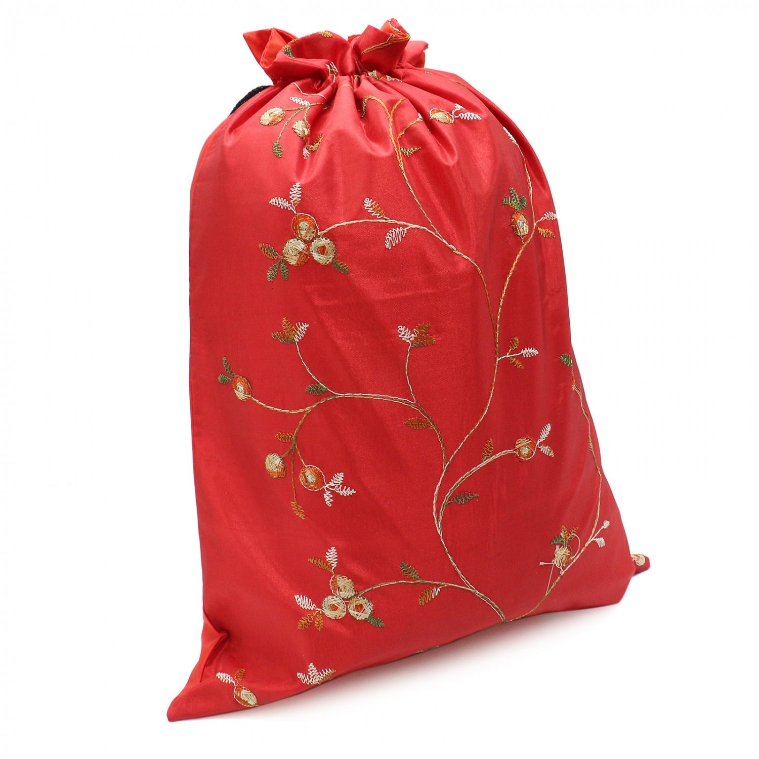 Buorsa Flower Design Embroidered Silk Jacquard Travel Bag Underwear Cloth Shoe Bags Pouch Purse , Set of 3--- 14'' x 11''(L x W) by Buorsa (Image #6)