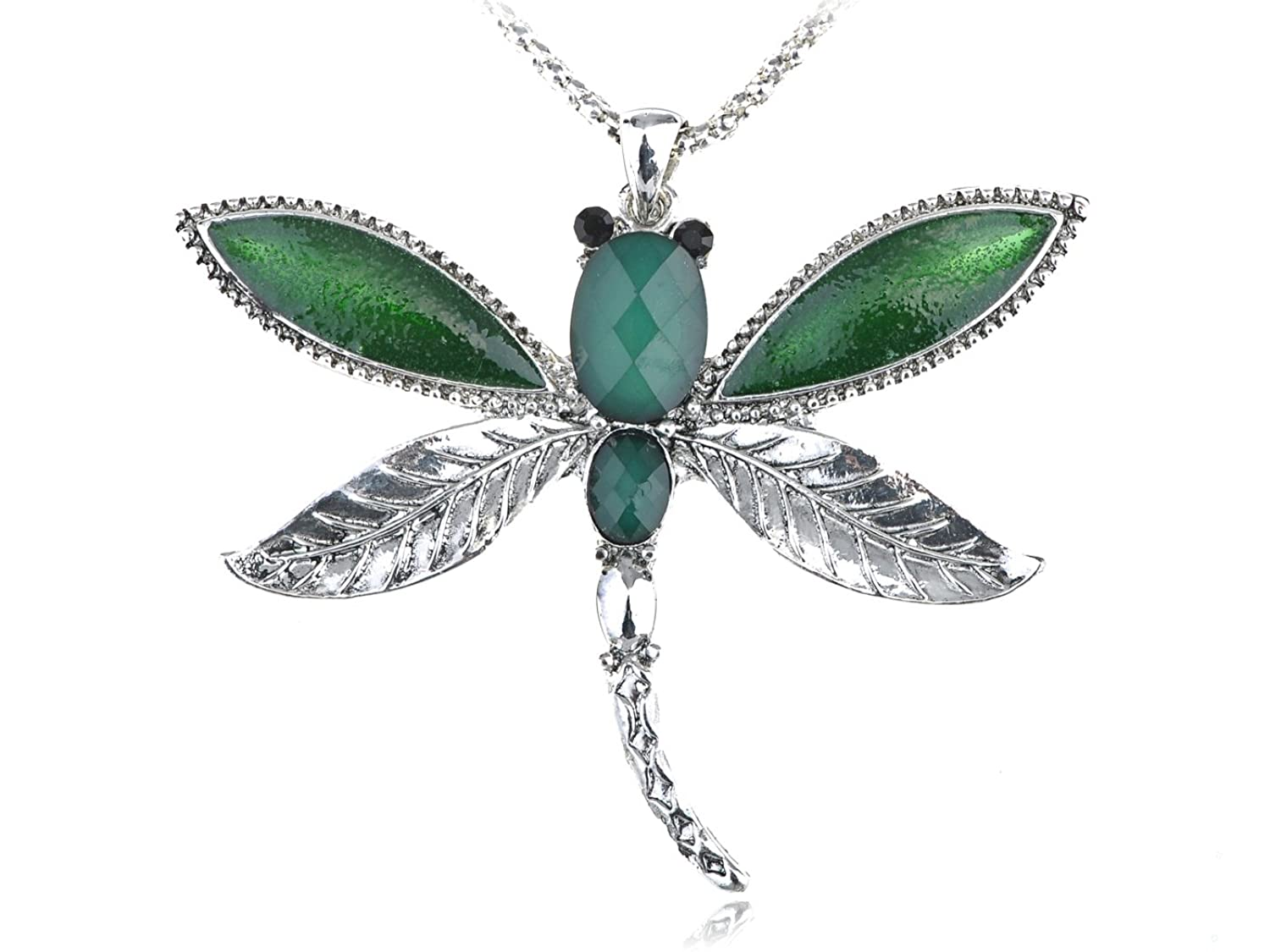 Alilang Emerald Green Blue Nature Leaf Winged Insect Dragonfly Custom Pendant Necklace