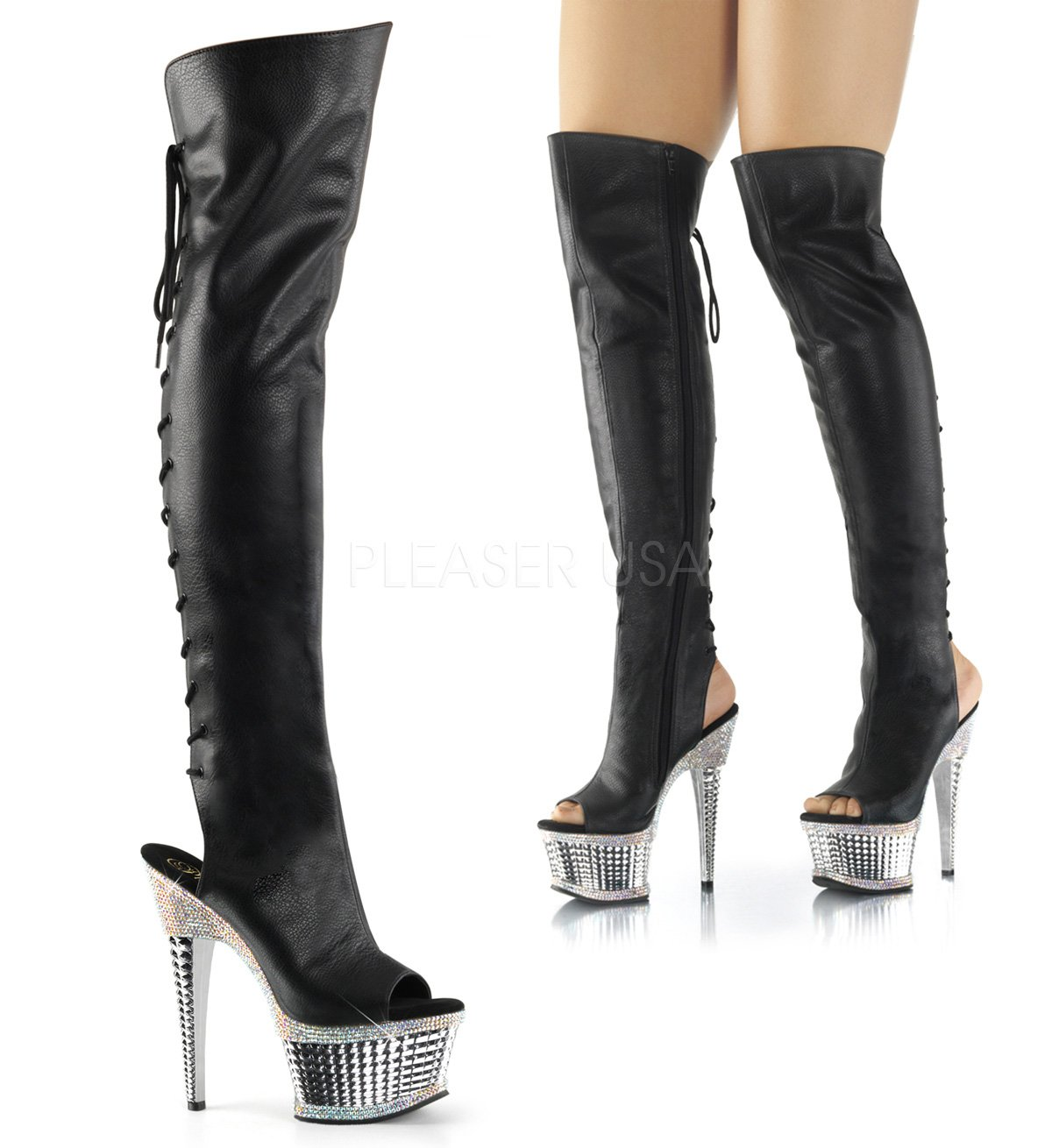 Pleaser Women's Illusion 3019RS Thigh High Boots, Black PU Leather, Synthetic, 9 M