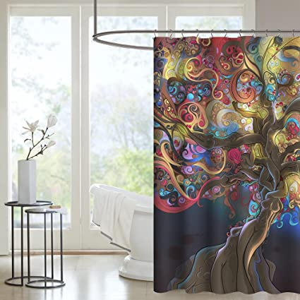 Uphome Colorful Watercolor Fancy Tree Pattern Custom Bathroom Shower  Curtain Waterproof Polyester Fabric Bathroom Curtain Set